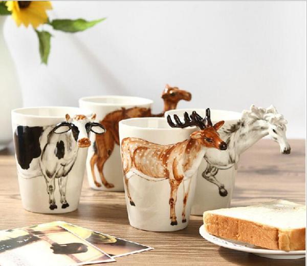 Кружки и чашки с рельефным изображением животных